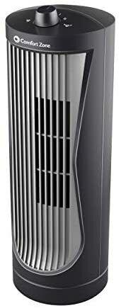 Comfort Zone CZ112 Quiet 2-Speed 12-inch Oscillating Desktop Tower Fan