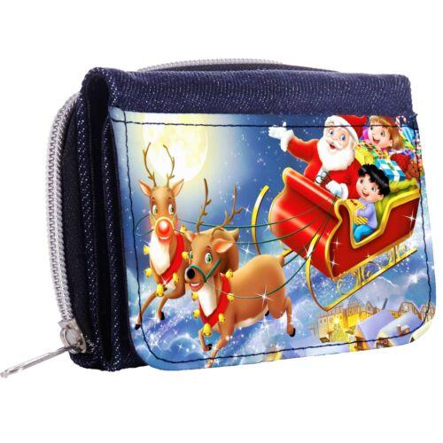 Christmas Night In Santa/'s Sleigh Denim Tri-Fold Half Wallet w// ID Window Button