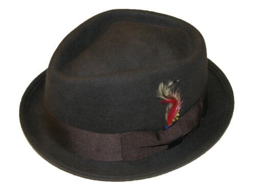 Pliable marron Diamond crown pork pie trilby chapeau avec matching band 100/% laine