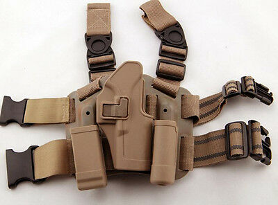 4in1 Tactical Drop Leg Thigh Rig Holster With 2 Pouches for Glock 17 18 22 23 31