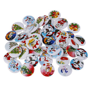 50Pcs-Christmas-Pattern-Wooden-decorative-Buttons-Scrapbooking-Sewing-Crafts-RA