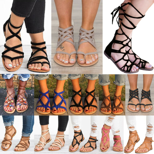 Womens Gladiator Sandals Boho Strappy Thong Summer Holiday Beach Flat Shoes Size