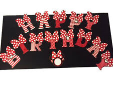 Party Home Decor Red Minnie Mouse Banner Happy Birthday Decoration USA