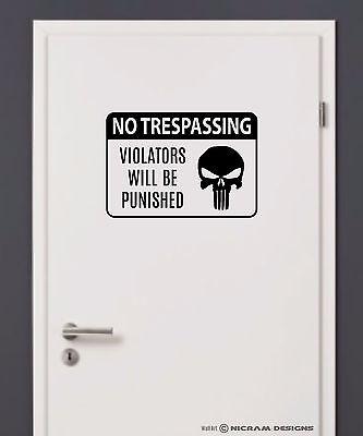 No Trespassing Warning Sign Skull Wall Art Vinyl Bedroom Decal Punisher Sticker