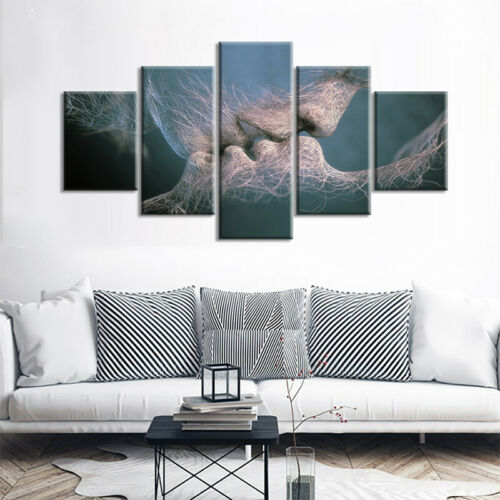 Modern Abstract Wall Decor Painting Kissing Lover Canvas Mural Set Home Picture