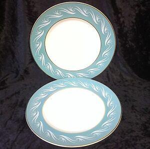 Vintage Porcelana Imperio 2x Ascot 25.5cm platos 60s Verde Blanco Bordes De Oro  </span>