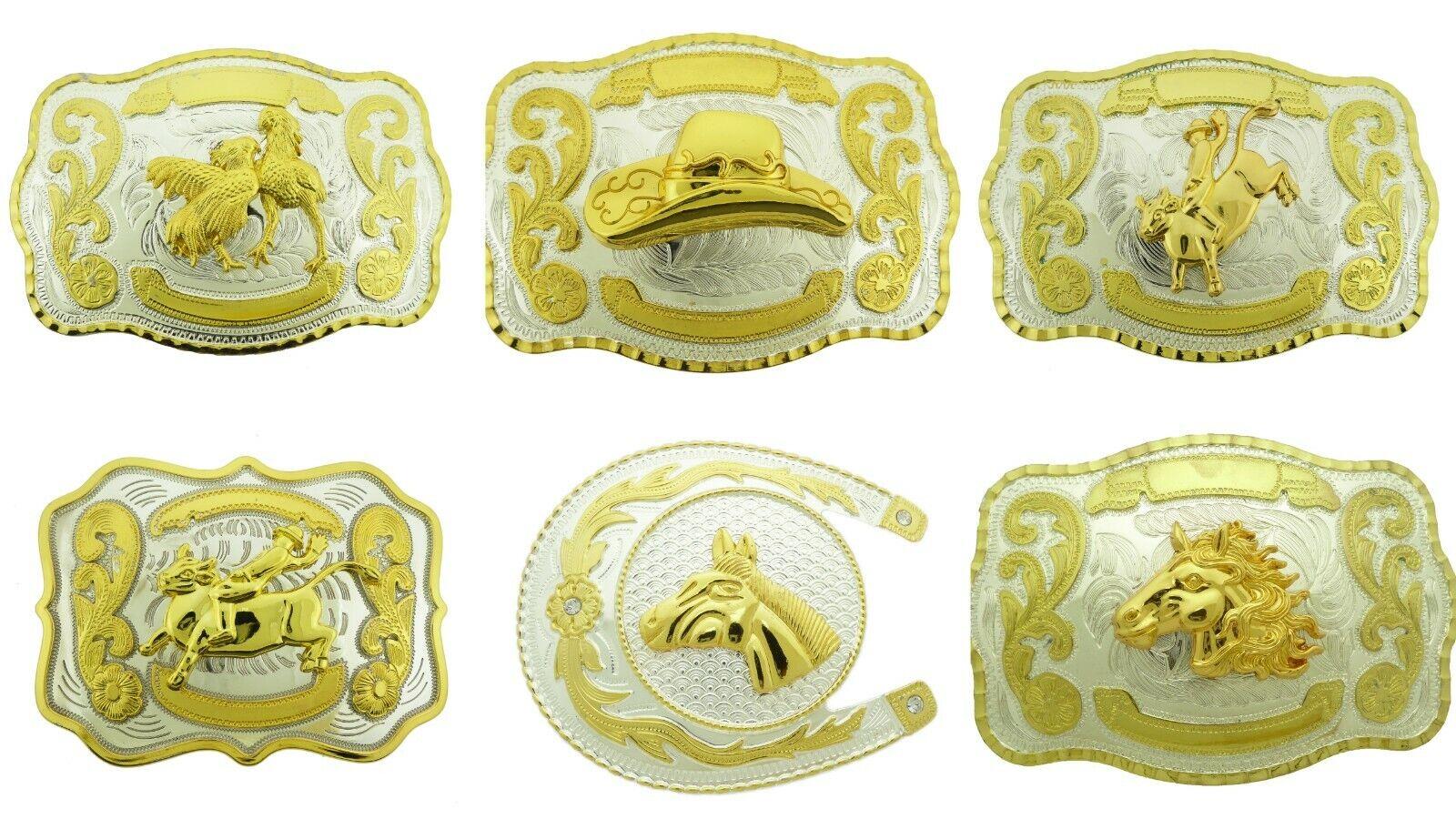 3D Herren Western Gürtelschnalle Hahn Rodeo Skorpion Kampf Mexikaner Texas Style