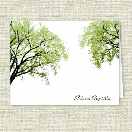 Personalized Stationery Spring Trees Note Cards Folded Note Cards