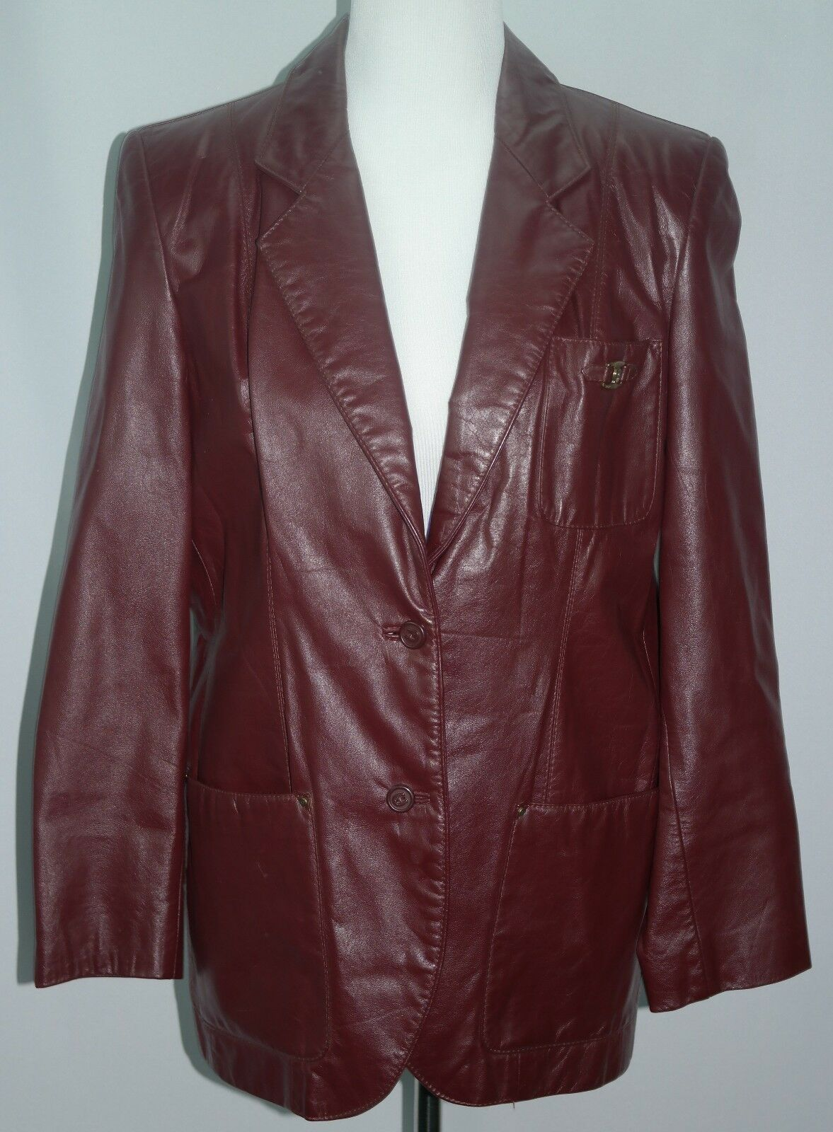 VTG 70's 80's Women's Burgundy Genuine Leather Etienne Aigner Coat - Sz 12