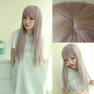 Womens LOLITA Style Long Straight Anime Wigs Gradient Color Hair Cosplay Costume