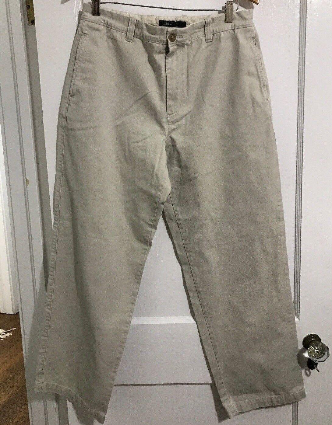 J.Crew Mens 34x32 Classic Khakis Pants 100% Cotton Vintage Flat Front Preppy