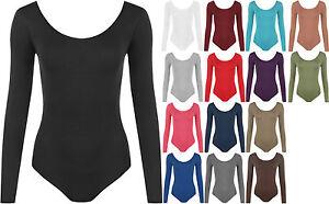 New-Plus-Size-Womens-Long-Sleeve-Scoop-Neck-Ladies-Bodysuit-Leotard-Top