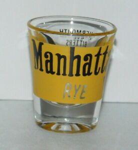 Vtg-Manhattan-Rye-Shot-Glass-Jigger-Bar-Yellow-Black-Graphics-Recipe