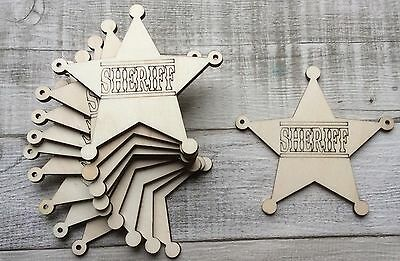 set of 10 laser cut wooden sheriff stars badges unpainted for bunting garland
