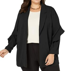 Alfani Womens Jacket Black Size 1X Plus Flounce-Sleeve Open Front $109 146