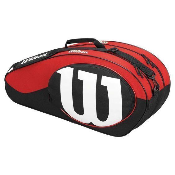Wilson Partita II, six racchetta da tennis Borsa Nuova nero e bianco e rosso