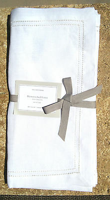 WILLIAMS SONOMA ~ SET OF 4 ~ IVORY NATURAL ~  HEMSTITCH PLACE MATS ~PLACEMATS