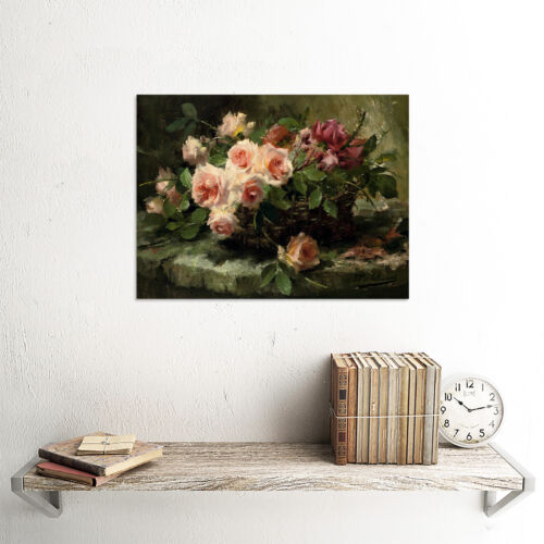 PAINTING MORTELMANS PINK ROSES IN A BASKET ART PRINT PICTURE POSTER HP2865