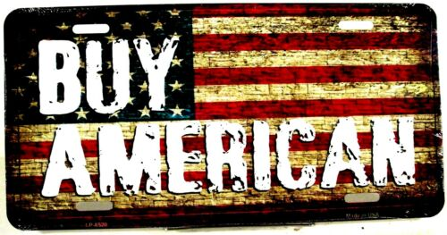 Novelty license plate Patriotic BUY AMERICAN new aluminum auto tag U.S.A LP-8520