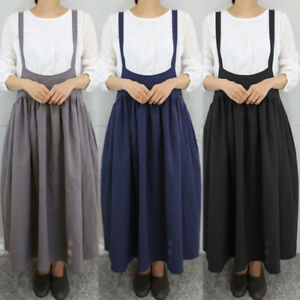 448bfca04a Image is loading Women-Suspender-Skirts-Casual-Strappy-Bib-Cargo-Long-