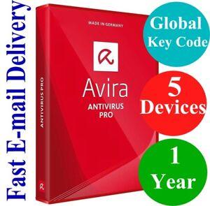 Avira Antivirus Pro 5 Devices / 1 Year (Unique Global Key Code) 2019