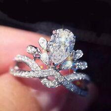 925 Silver Huge White Topaz Gemstone Wedding Bridal Vintage Prom Ring Size 7