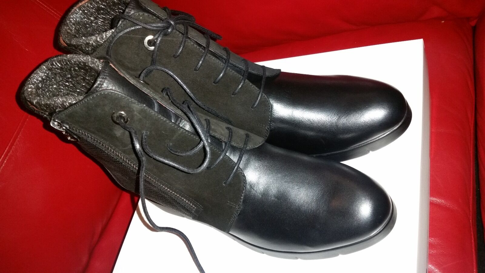 HISPANITAS LYDIA BLACK LEATHER BOOTIE BOOTS BOOTS BOOTS NIB EU 41 10 10.5 0a3ff4