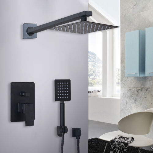 """US 8/""""Square Stainless Shower Head Wall Mount Slim Black Hand Mixer Control Valve"""