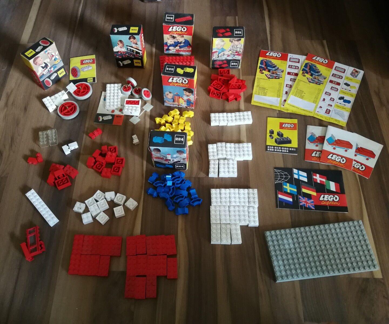 50er-60er Jahre Lego System Konvolut Kartons   Verpackungen Anleitungen usw.
