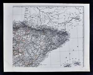 Map Of Spain Reus.1847 Flemming Map Northeast Spain Barcelona Zaragoza Bayonne