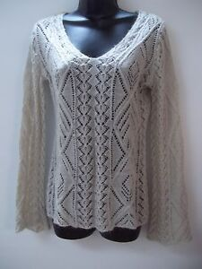 CAbi Sweater Beige Open Weave Acrylic Mohair Blend Long Sleeve Size ... 4c7438965