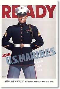 Ready-Join-the-Marines-Land-Sea-Air-Vintage-WWII-NEW-Art-Print-POSTER