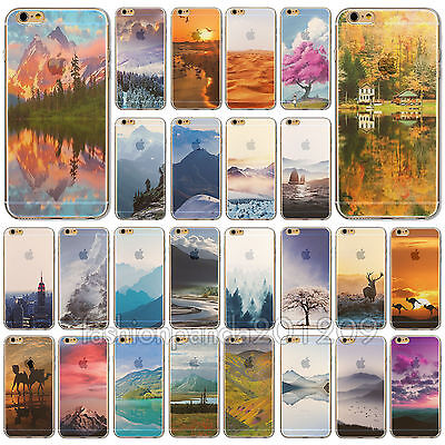 Semi-Clear Natural Scenery Design Soft Case Cover For iPhone 4S 5 5S SE 6S 6Plus