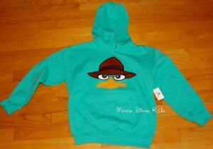 Disney-Parks-Phineas-and-Ferb-Agent-P-Perry-Fleece-Hoodie-Sweatshirt-Boys-XS-M