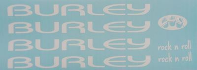 Burley Tandem Rock n Roll Decals ~ Burley Frame Decals  ~ White Decal Set