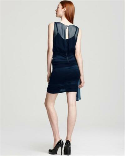Alice Olivia Bessie Navy Silk Chiffon Crossover Draped Rouched Tank Dress $398