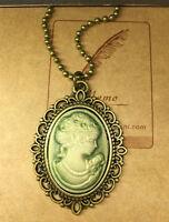 1pcs Fashion Retro Beauty Head Goddess Cameo Charm Alloy Lady Necklace green