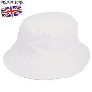 96e5cf3ccba 100% COTTON PLAIN WHITE BUSH BEANIE BUCKET CRICKET SUN SUMMER HAT UK ...