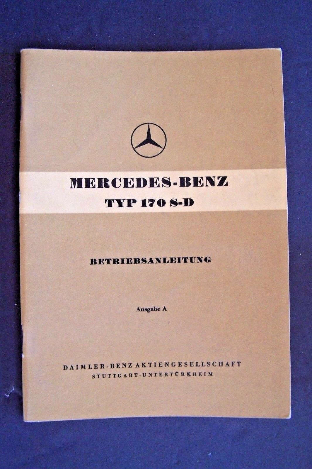 1954 mercedes 170sd w136 owners manual betriebsanleitung new german