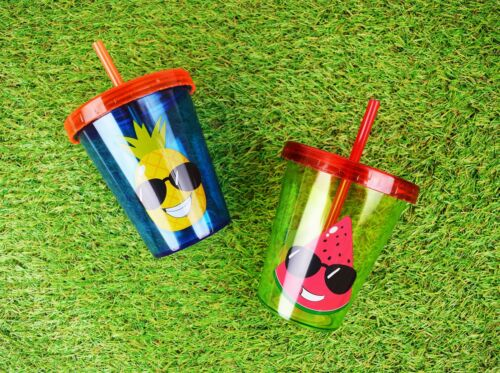 2 Drinking Cups with Straw Anti Spill Lid Kids Children Fun Novelty Blue Green