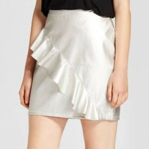 quite nice great deals choose newest Details about NEW MOSSIMO Womens/juniors silver faux-leather ruffle mini  skirt Sizes 4-18