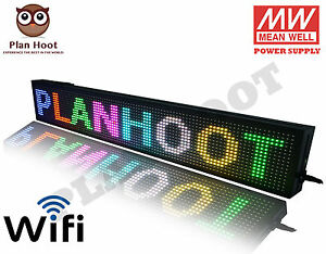 "40""X8"" LED SCROLLING SIGN - WIFI RGB 7 COLORS FOR SEMI OUTDOOR AND INDOOR USE"