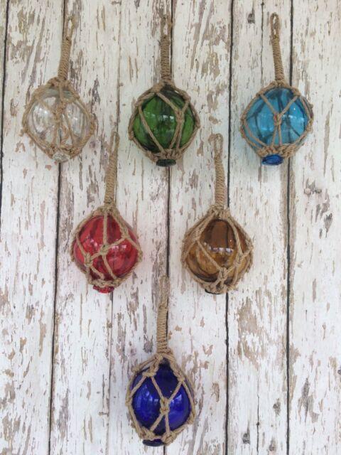 "(6) - 3"" Glass Curio Fishing Floats ~ Fish Net Buoy Decor ~ Blue, Green, Red"