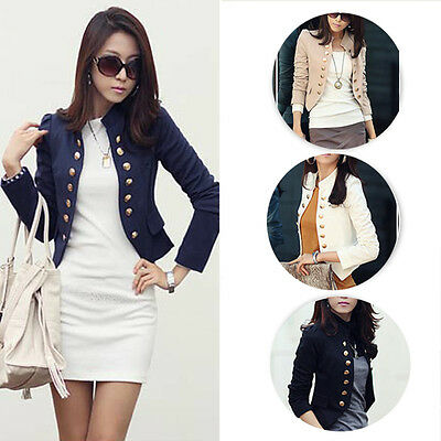 Autumn Women Female Long Sleeve Button Small Office Blazer Suit Jacket Cardigan
