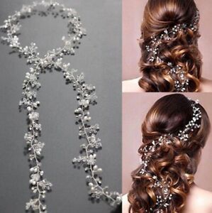 Hot Long Handmade Weaving Wedding Hair Vine Crystal Bridal Accessories Headbands
