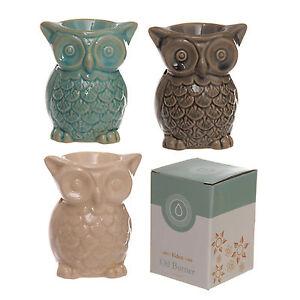 Ceramic-Owl-Oil-Burner-Essential-Aromatherapy-Home-Fragrance-Beige-Brown-Blue