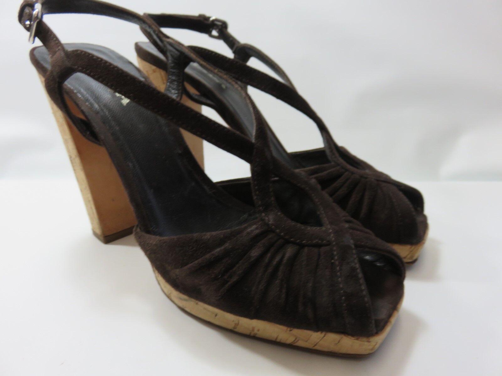 PRADA Brown Suede Strappy Heels Women's Size 39 Medium EUC  MADE IN ITALY