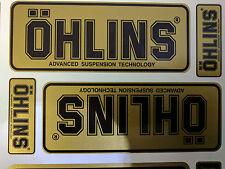 4x Ohlins Gold & Black Decals Stickers Suspension, Bike, Shock, motorcycle STUNT