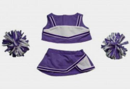 "Teddy Bear PURPLE /& WHITE Cheerleader CLOTHES Fit 14/""-18/"" Build-a-bear !!NEW!!"