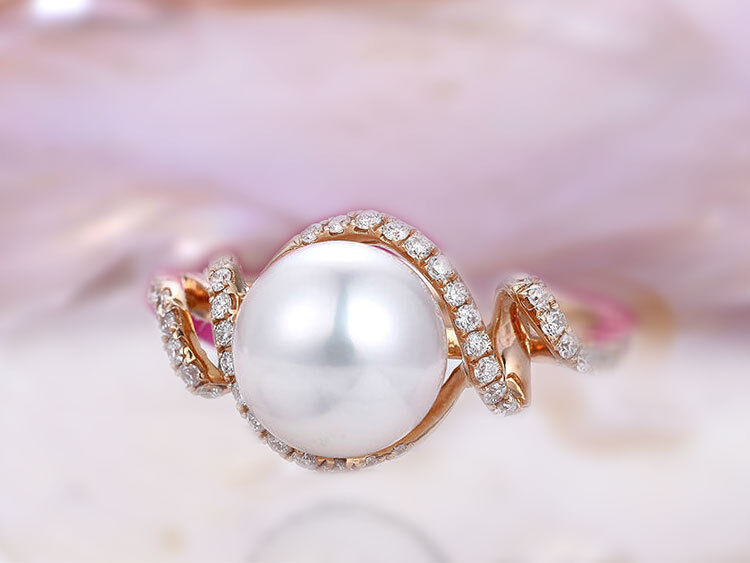14k Solid gold white pearl ring halo art deco wedding engagement ring  DJR0066